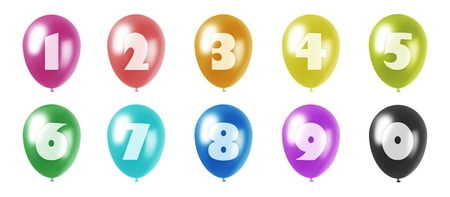 set of ten balloons of different colors in pastel tones with the figures from 0 to 9 printed on them photo
