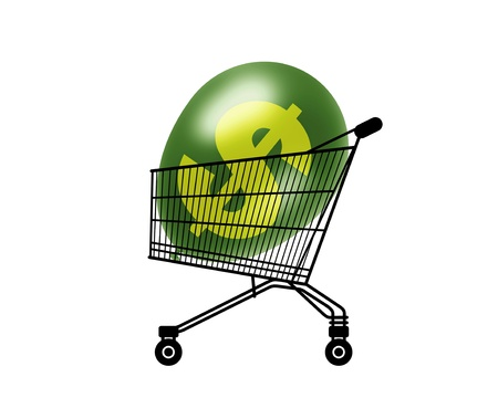 purchasing power: black silhouette of a shopping caddy with a green dollar balloon inside, a symbol of an inflated purchasing power