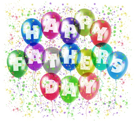 felicitation: colorful balloons with characters printed on them composing the inscription happy fathers day