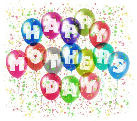 colorful balloons with characters printed on them composing the inscription happy mothers day