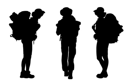 3 black silhouettes of female backpackers waking and standing, carrying big tourist bags Stockfoto