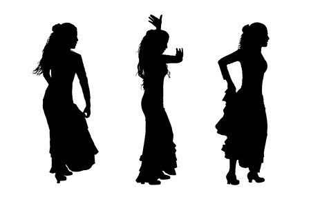 3 black silhouettes of female flamenco dancers in motion photo