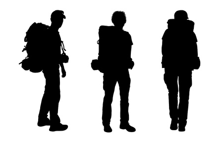 3 black silhouettes of male backpackers waking and standing, carrying big tourist bags