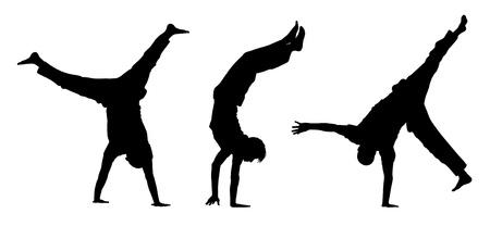 3 siluetas negras de los adolescentes caminar sobre sus manos y haciendo figuras acrobáticas
