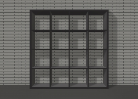 black empty bookshelf composed of sixteen boxes on grey brick wall background Stock Photo - 19480713