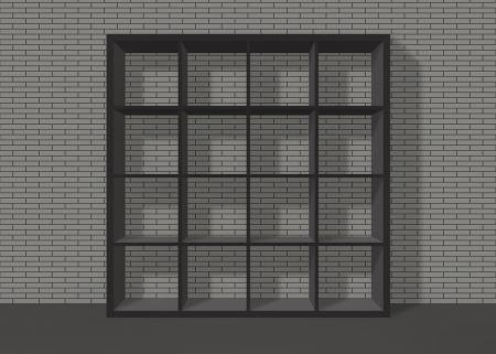 black empty bookshelf composed of sixteen boxes on grey brick wall background Stock Photo - 19480713