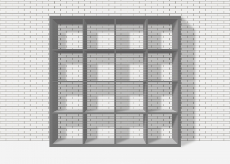 grey empty bookshelf composed of sixteen boxes on white brick wall background Stock Photo - 19480714