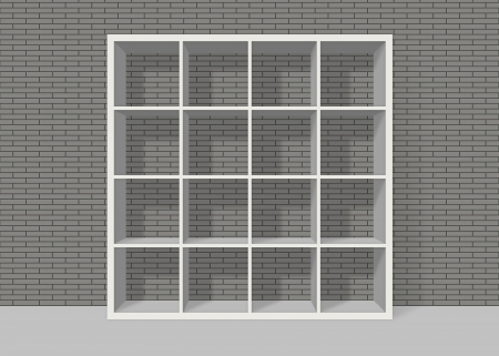 white empty bookshelf composed of sixteen boxes on grey brick wall background Stock Photo - 19480712