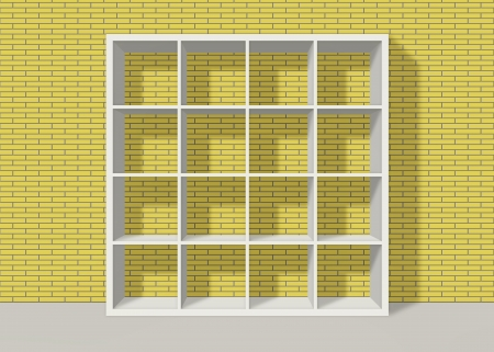 white empty bookshelf composed of sixteen boxes on yellow brick wall background Stock Photo - 19480716