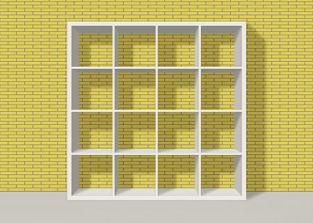 white empty bookshelf composed of sixteen boxes on yellow brick wall background Stock Photo - 19480716