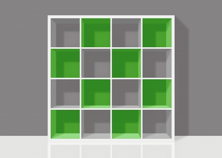 white empty bookshelf composed of sixteen boxes with green transparent elements on grey wall background Stock Photo - 19480707