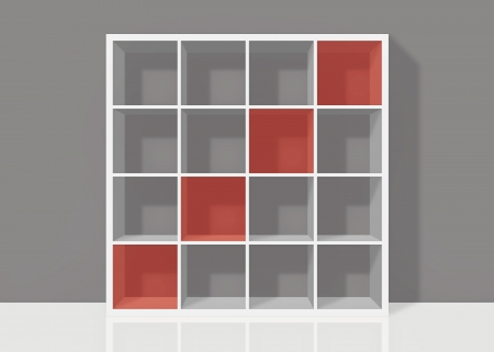 white empty bookshelf composed of sixteen boxes with red diagonal transparent elements on grey wall background Stock Photo - 19480706