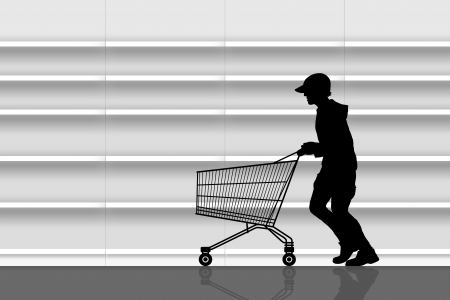 silhouette of a man in a cap running with an empty shopping caddy in front of empty shelves of a supermarket