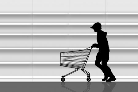 delincuencia: silueta de un hombre con una gorra que se ejecuta con un carrito de compras vac�o delante de los estantes vac�os de los supermercados Foto de archivo