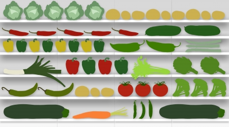 facade of supermarket shelves full of different kinds of fresh vegetables photo