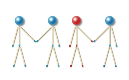 unequal: four little men made of blue and red matches and balls shaking their hands representing an equal and unequal partnership