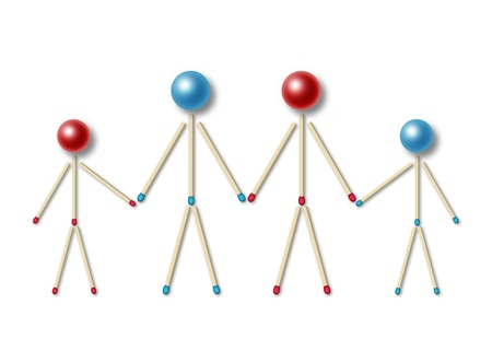 four little men made of matches and balls holding their hands and representing a family with two children photo