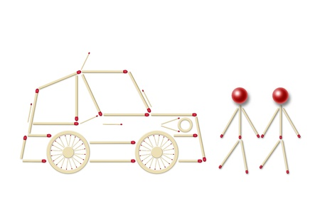 little men and little assembled of red matches, a symbol of a danger for children on the road