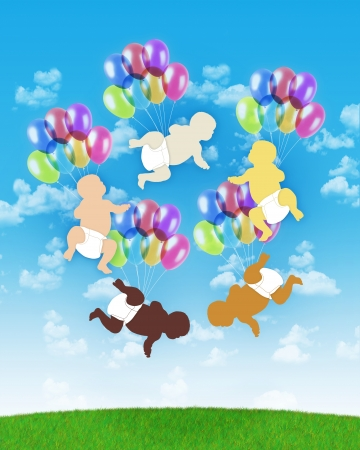 births: five babies of different human races flying all together on colorful balloons on a blue sky background, symbol of human unity