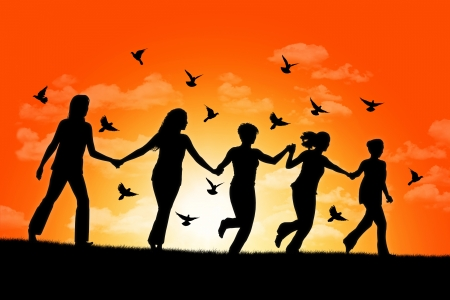 silhouettes of five happy women running down the hill holding their hands at sunset surrounded by flying pigeons Banque d'images