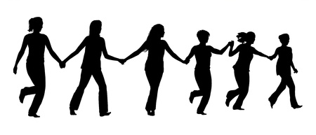 silhouette of group of different women holding their hands and running forward all together