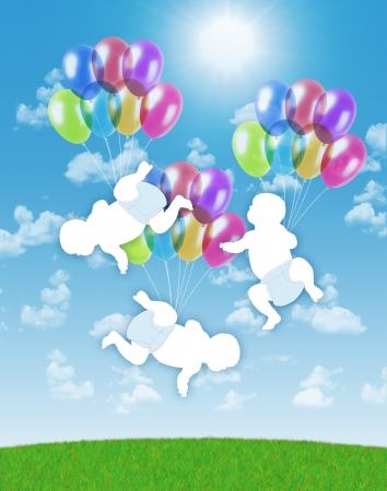 births: white silhouettes of newborn triplets flying on colorful balloons on a blue sky background