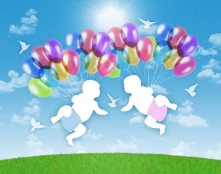 births: white silhouettes of newborn twins flying on colorful balloons on a blue sky background Stock Photo