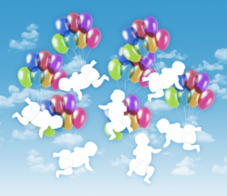7 white silhouettes of babies flying on colorful balloons on a blue sky background Stock Photo