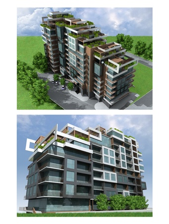 3d overview of modern urban high-rise residential building in metal, glass and wood