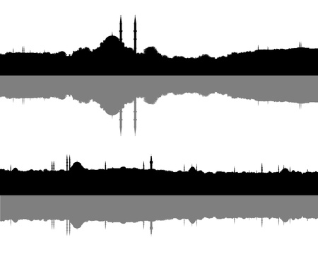 set of two silhouettes of a muslim city