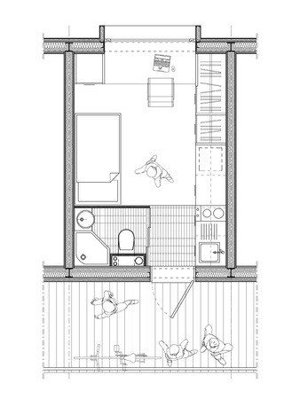 technical architect drawing of a plan of a student room of 9 square meters with details of interior arrangement
