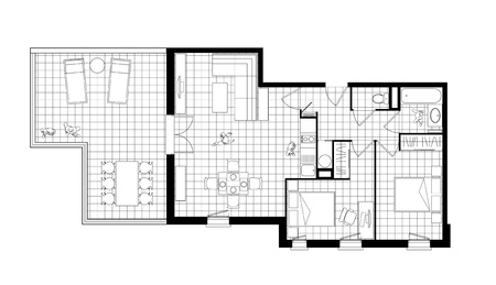 top view of an interior of three-room apartment with a terrace, a simple black and white cad drawing photo
