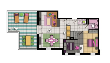 top view of an interior of three-room apartment with a terrace in pop style colors photo