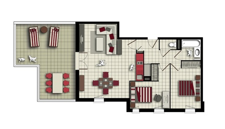 top view of an interior of three-room apartment with a terrace in beige and red colors