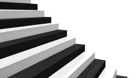 zoom on part a brand new black and white glossy stairs simple shape in diagonal perspective on white background photo