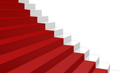 zoom on part a new white glossy stairs simple shape with a red carpet in diagonal perspective