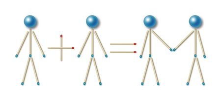 simple equation of partnership represented by little men made of blue matches and balls photo
