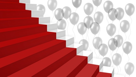 zoom on part a new white glossy stairs with a red carpet and lots of transparent balloons on background Stock Photo