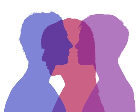 silhouette of young man and woman looking on each other and a shadow of another woman superimposed on their silhouette, symbol of man Stockfoto