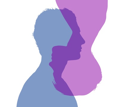 alter ego: silhouette of two superimposed profiles of young man and woman inverted to each other, symbol of alter ego