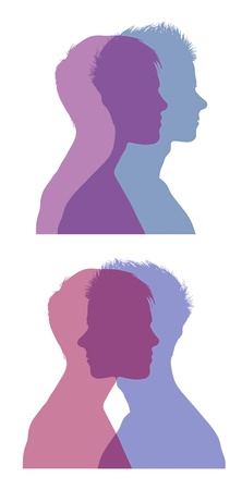 set of two silhouettes of superimposed profiles of young man and woman, symbols of a couple life photo
