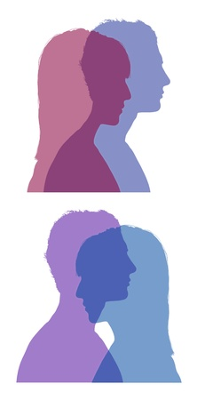 set of two silhouettes of superimposed profiles of young man and woman, symbols of a couple life