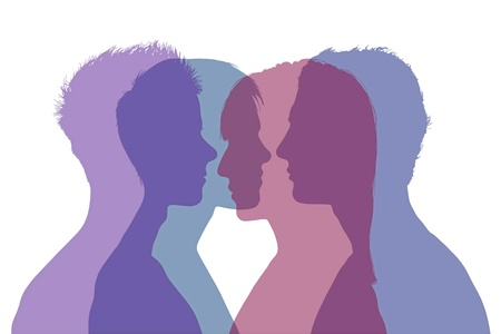 four superimposed silhouettes of young men and women composing two couples, symbol of complicated relationships