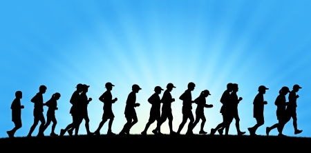 scamper: realistic silhouette of a big group of people running on sunrise background, panoramic view