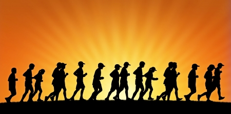 scamper: realistic silhouette of a big group of people running on sunset background, panoramic view