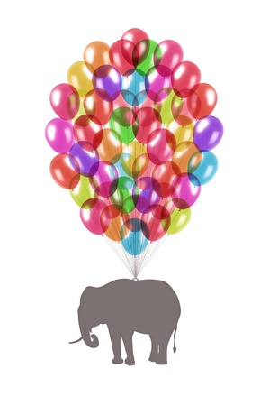 grey elephant flying on lots of little colorful balloons