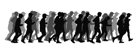 scamper: silhouette of a big group of people men and women running in black and grey tones