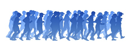 blue gradient silhouette of a big group of people men and women running photo