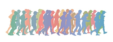 silhouette of a big group of people men and women running in pastel colors