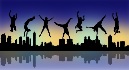 youth sports: silhouettes of young happy people jumping a big city panoramic silhouette by night Stock Photo